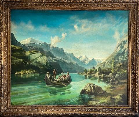 Bilde av Brudeferden paa Fjorden av Jan Terje Rafdal m/ ramme